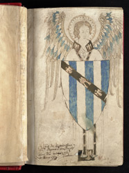 An Angel Holding The Arms Of Bishop John Grandisson, In 'The Grandisson Psalter'